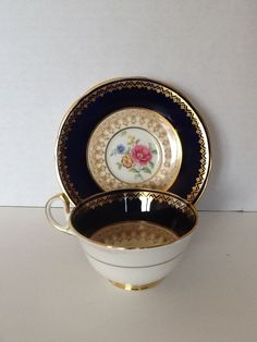 Aynsley Maritime Rose Cup Saucer Cobalt Blue Gold Trim Floral Vintage China