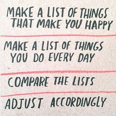 Make a list of things that make you happy. Make a list of things you do every day. Compare the lists. Adjust accordingly. :) (yogi bhajan quotes?)