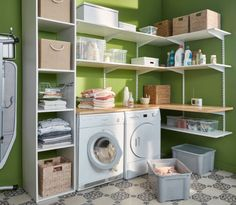 Create your laundry by composing custom storage using tablets, racks and consoles that you will have according to your needs. Home Organisation, Laundry Room Organization, Beautiful Living Rooms, Beautiful Kitchens, Küchen Design, House Design, Garage Renovation, Small Laundry Rooms, Home Automation System