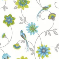 Fine Decor Eden Bird Wallpaper White / Green / Blue Lime Green Wallpaper, Bird Wallpaper, Pattern Wallpaper, Print Wallpaper, Purple Bird, Purple Teal, Pink, Estilo Interior, Living Room Green