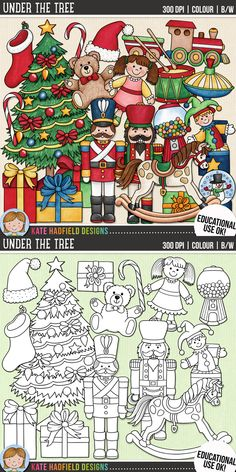 Traditional Christmas Clip Art for teachers by Kate Hadfield Designs | Teachers Pay Teachers. Supplied in both hand-painted coloured versions and black and white outlines! #katehadfielddesigns
