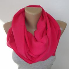 hot pink infinity scarf, scarves , unisex scarf, women accessories, men accessories , trend scarf by seno