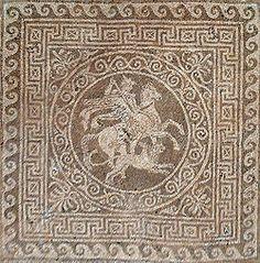 Mosaic representant a Bel·lerofont mata la Quimera muntant el seu cavall alat Pegàs a una casa de la ciutat antiga d'Olint.