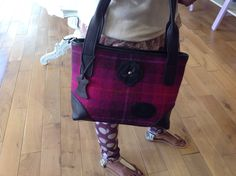 One of our beautiful soft leather and Harris Tweed handbags.