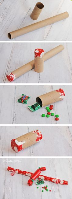 How to make Christmas Crackers -- a fun and easy Stocking Stuffer idea {OneCreativeMommy.com}: