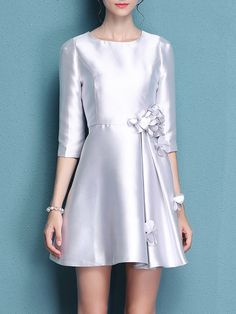 Woven Plain Casual 3/4 Sleeve Mini Dress
