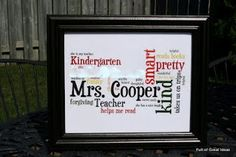 teacher gift using Wordle.  easy & personal.  meaningful cos teacher herself taught them Wordle this year.  this is great!  teacher gift sorted.  just source a frame and paint her favourite colour - purple!!
