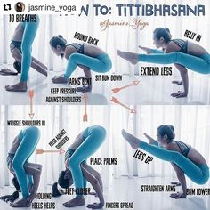 image by  Tittibhasana  Firefly Pose on  @yogaalignment . . #yogatips with @jasmine_yoga   . #JasmineYogaTutorial : #tittibhasana / #fireflypose  Received some request for a breakdown of this pose. The trickiest bit for thus one is practicing squeezing legs into arms.  Tips :  1) Stretch in any wide legged forward fold before attempting this pose 2) Hook as much as your shoulder behind knees as possible.  3) I like to walk my feet in closer to each other as I bring your body between my legs…