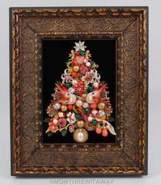 Vintage Rhinestone Jewelry CHRISTMAS TREE Pin Framed ART Reindeer Cherub Snowman