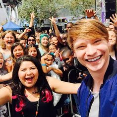 Calum Worthy snaps a pic with Raini Rodriguez at the pre-party festivities at the 2015 Radio Disney Music Awards. Calum Worthy, Raini Rodriguez, Disney Channel Stars, Pre Party, Laura Marano, Austin And Ally, Amazing Songs, Disney Shows, Disney Music