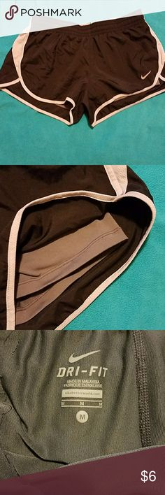 Nike running shorts Dri-fit shorts, black and grey, DO HAVE built in spandex shorts. Worn once or twice, new condition. Very comfy. Nike Shorts