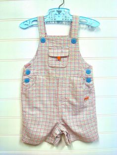 Vintage Baby Clothes Baby Boy Overall Shorts by OnceUponADaizy, $15.00