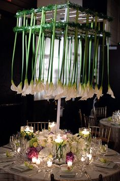 Suspended calla lilies make an unexpected centerpiece