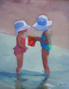 'Sisters in Sunhats' Two Girls in Bathing Suits and Sunhats at the Beach by New York Fine Artist Maryann Lucas
