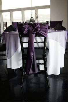 "Plum/Eggplant Decorations :  wedding  reception decorations, white polyester tablecloths, plum organza overlay and Plum Satin Chair Sashes. www.cvlinens.com #plum #eggplant  http://bestpin.tumblr.com/post/""49475128195"""