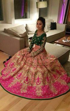 Pink and green combination bridal lehenga for wedding day Indian Bridal Wear, Indian Wedding Outfits, Pakistani Bridal, Pakistani Outfits, Bridal Lehenga, Lehenga Choli, Indian Outfits, Bollywood Bridal, Green Lehenga
