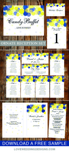 Modern, fun printable wedding templates. A favourite amongst DIY brides. This reception set has everything you need for your reception venue. View the Collection.