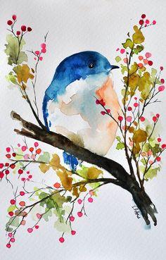 ORIGINAL Watercolor Painting Bird in a spring by ArtCornerShop #watercolorarts