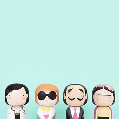 Happy Friday from Coco, Anna, Salvador and Frida! #luciekaas #sketchinc #sketchincforluciekaas #kokeshi
