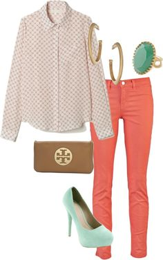 """Mint and Coral"" by emily-banks-church on Polyvore"