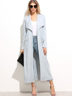 To find out about the Blue Suede Drape Collar Coat With Pocket at SHEIN, part of our latest Outerwear ready to shop online today! White Coat Outfit, Long White Coat, Mode Mantel, Langer Mantel, Wrap Coat, Blue Coats, Blue Suede, Fashion Outfits, Fashion Trends