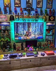 Computer Gaming Room, Gaming Room Setup, Computer Setup, Pc Setup, Gamer Room, Gaming Wallpapers, Displaying Collections, Awesome Bedrooms, My Room
