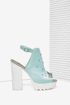 cbc2da570f36 Iggy Azalea x Steve Madden Tempo Rhinestone Lug Sole Platform Heels - Mint  Dream Shoes