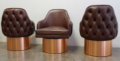 Set of Four Leather Exterior Back-Tufted Tall Barrel Chairs, USA, 1970 | From a unique collection of antique and modern lounge chairs at https://www.1stdibs.com/furniture/seating/lounge-chairs/