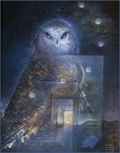 Pathways ~ Susan Seddon Boulet   ~~~~~~~~~~~~~~~~~~~~~~~~~ The owl is the symbol of the feminine, the moon and the night. The owl is the bird of magic and darkness, of prophecy and wisdom. Owl people work best during the night hours. An owl totem gives you the power to extract secrets. Meditate on the owl and things will be revealed. Listen to its voice inside of you. You will hear not what others are saying, but what is hidden. You can detect subtleties of voice that others cannot.