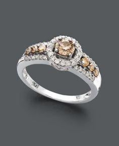 Le Vian Diamond Ring, 14k White Gold Chocolate and White Diamond Ring (3/4 ct. t.w.) - Rings - Jewelry & Watches - Macy's