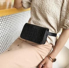 Small Bag Female New Tide Fashion Crocodile Pattern Crossbody Chest Bag Simple Small Square Bag Shoulder Diagonal Pocket is designer, see other cute bags on NewChic. Work Bags, Leather Belt Bag, Simple Bags, Waist Pack, Cute Bags, Crocodile, Female, Lady, Pattern