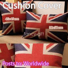"""English Flag Home Sofa Decor Pillow Case Cushion Cover Cotton Linen 16"""",18"""",25"""""""