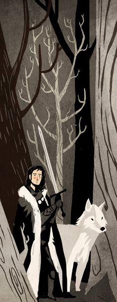 Jon Nieve y Fantasma - Jon Snow and Ghost; Alfredo Caceres. http://es.wikipedia.org/wiki/Eddard_Stark#Jon_Nieve
