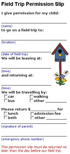 Field trip permission form - Templates Art - Classroom Helps - permission form template
