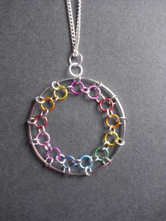 Rainbow Chainmaille Necklace: