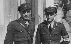 TRAITORS OF THE RUSSIAN LAND.This 1941, the city of Rivne. Omeljan Grabets (left), the second - Fedor Zaborovets. Both of them - members of the OUN, Ukrainian. July 13, 1942 in the liquidation of the ghetto took place exactly. Ukrainian fascists took an active part in the murder of Ukrainian Jews