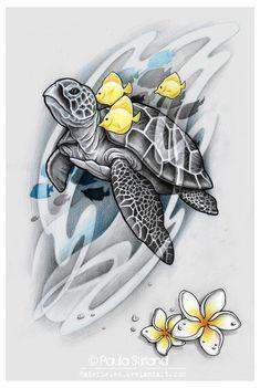 Yellow Fish and Gray Turtle Tattoo by Hatefueled - Trend Tattoo Styles Sea Life Tattoos, Ocean Tattoos, Body Art Tattoos, Tattoo Drawings, Wrist Tattoos, Sleeve Tattoos, Tatoos, Hawaiian Turtle Tattoos, Hawaiian Sea Turtle