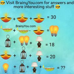 Math Algebra Picture Puzzles (Diwali lamps) math puzzles with answers Math Logic Puzzles, Math Quizzes, Funny Puzzles, Brain Teasers Riddles, Brain Teasers With Answers, Diwali Lamps, Math Made Easy, Math Challenge, Body Workout At Home