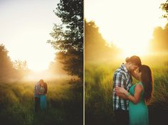 Sunrise engagement photos, so romantic!