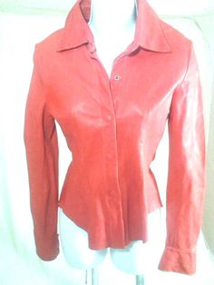BLUR Leather Jacket, Size Small, Red Long Sleeve Front Snap Button #BlurLeather #BasicJacket