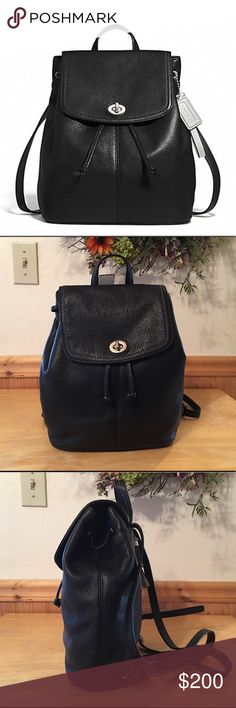 """HOST PICKNWOT Coach Park Leather Backpack NEW Never used Coach Park Black Leather Backpack with Silver Hardware! Sateen lining, 1 zip, multiple slip pockets! Closure is drawstring flap with the Coach Classic Turn lock! Gorgeous bag! The straps are adjustable with 5 holes, the  grab and go handle is approx 3"""" bag measures approx 12 X 11.5 X 4.5 includes card card and I'm adding a dust cover ❌no trade price firm❌ Coach Bags Backpacks"""