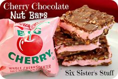 Cherry Chocolate Nut Bars- our neighbor brings these every year and we always fight over them!! They are amazing (and so easy!)! SixSistersStuff.com #dessert #Christmas