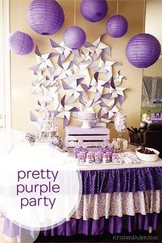 Using a color-themed birthday party is a fun and challenging way to test the limits of your creativity. Check out this DIY pretty purple birthday party for tons of great ideas about food, games, and decoration. Your little one will love this snack table that's full of yummy, homemade food options. You can use grapes, juice boxes,and a homemade birthday cake to carry on the pretty purple theme.