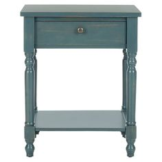 Pine wood end table.  Product: End tableConstruction Material: PineColor: TealDimens...