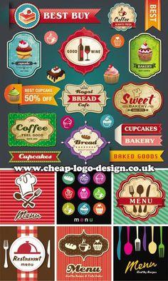 retro food logos and cupcake labels www.cheap-logo-design.co.uk #foodlabels #foodlogos #logodesign #cupcakes