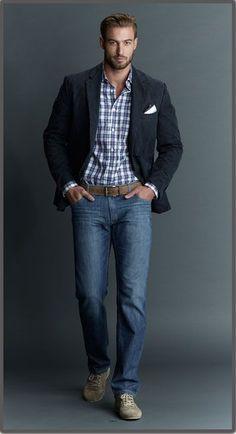 Men sport coat with jeans style men ropa casual hombres, moda casual Casual Sport Coats, Mens Sport Coat, Men Casual, Sports Coats For Men, Casual Clothes For Men Over 50, Sports Coat And Jeans, Casual Dressy, Sports Jacket, Mens Fashion Blazer