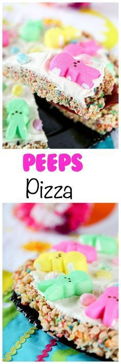 Peeps Pizza: Chewy cereal pizza topped with marshmallow frosting and Easter candies. The cutest easter dessert/centerpiece around.