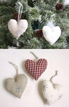 Home made heart Christmas tree ornaments.