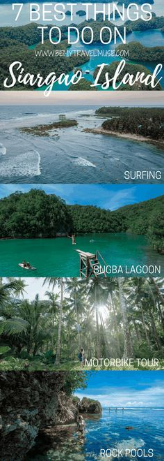 The perfect itinerary for Siargao Island in the Philippines including Sugba Lagoon, island hopping, the best places to stay, the Magupunko Rock Pools, and how to book the best trip possible! Bohol, Palawan, Siargao Philippines, Les Philippines, Philippines Travel, Cebu, Vigan, Manila, Island Travel