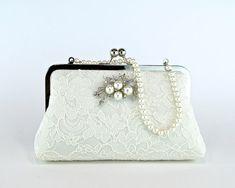 EllenVintage Silk Lace Clutch with Brooch, Bridal clutch, Wedding purse, Wedding clutch